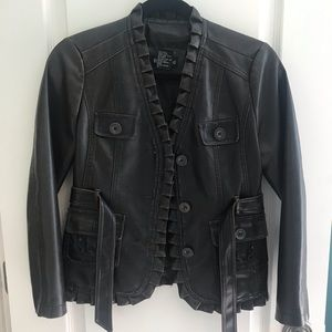 Dark Brown Faux Leather Jacket